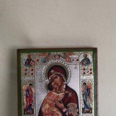 Arte: ICONO CON LUSTRES DE ORO, PLATA Y PIEDRAS CRISTALES DE COLOR. Lote 244629565