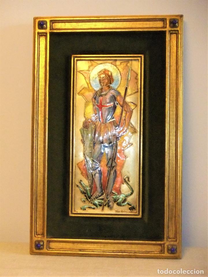 CUADRO DE MODEST MORATÓ (1909-1993) CON ESMALTE DE SAN JORGE, SANT JORDI, ST GEORGE (Arte - Arte Religioso - Pintura Religiosa - Otros)