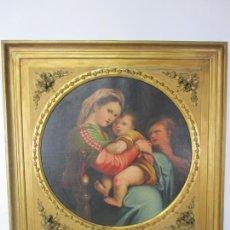 Arte: PRECIOSO ÓLEO SOBRE TELA - LA VIRGEN DE LA SILLA, RAFAEL SANZIO - COPIA FIRMADA A. DE OVIEDO -1876. Lote 224889336