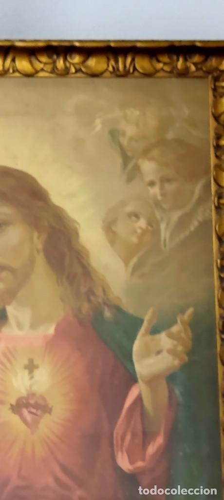 Arte: antigua estampacion sobre lienzo sagrado corazon de jesus 110x80 - Foto 5 - 224897652