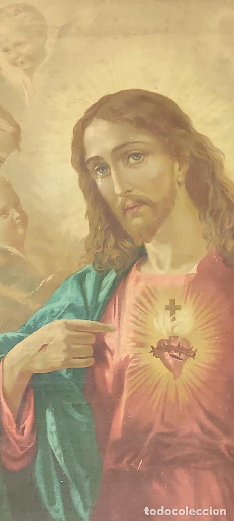 Arte: antigua estampacion sobre lienzo sagrado corazon de jesus 110x80 - Foto 6 - 224897652