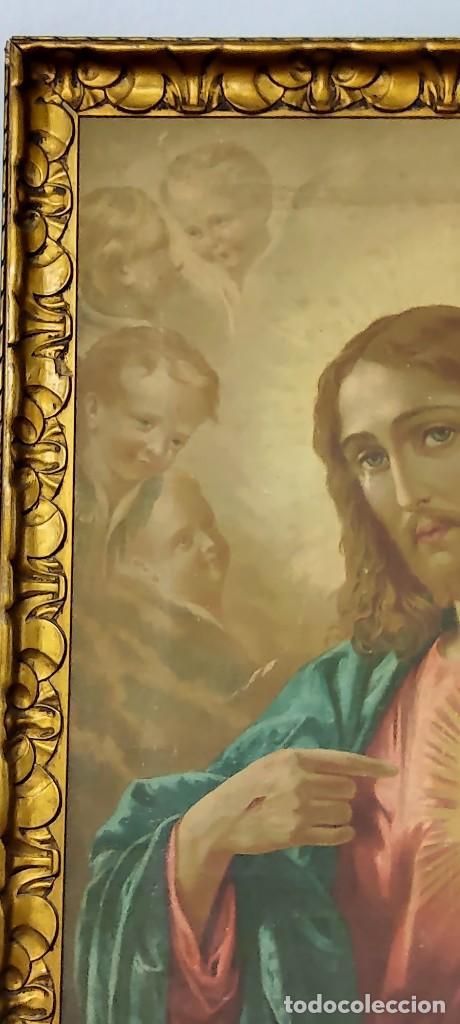 Arte: antigua estampacion sobre lienzo sagrado corazon de jesus 110x80 - Foto 8 - 224897652