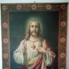 Arte: ANTIGUO TAPIZ DE GRANDES DIMENSIONES RELIGIOSO CON LA IMAGEN DE JESUCRISTO. 122CM X 93.5CM.. Lote 224985023