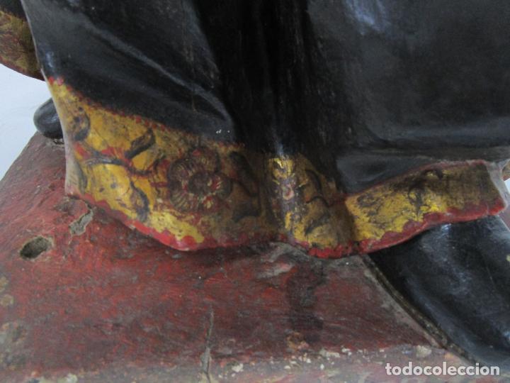 Arte: San Juan Nepomucero - Talla de Madera Policromada - Altura 126 cm - S. XVII-XVIII - Foto 4 - 225003015