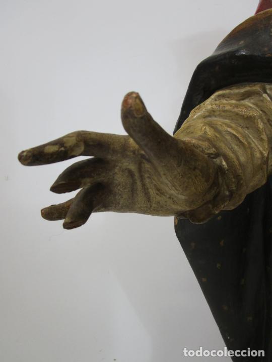 Arte: San Juan Nepomucero - Talla de Madera Policromada - Altura 126 cm - S. XVII-XVIII - Foto 12 - 225003015