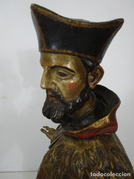Arte: San Juan Nepomucero - Talla de Madera Policromada - Altura 126 cm - S. XVII-XVIII - Foto 26 - 225003015