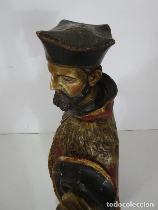 Arte: San Juan Nepomucero - Talla de Madera Policromada - Altura 126 cm - S. XVII-XVIII - Foto 28 - 225003015