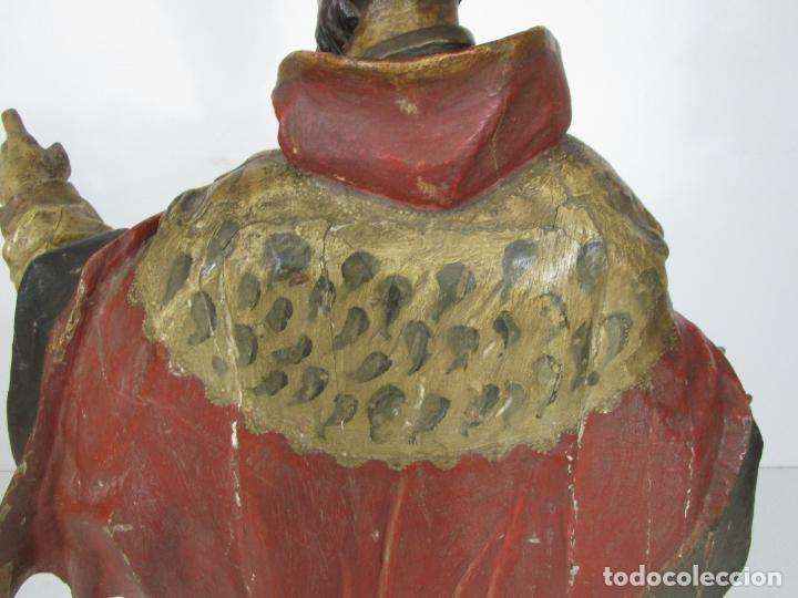 Arte: San Juan Nepomucero - Talla de Madera Policromada - Altura 126 cm - S. XVII-XVIII - Foto 31 - 225003015