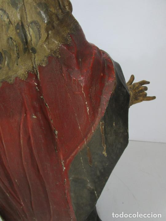 Arte: San Juan Nepomucero - Talla de Madera Policromada - Altura 126 cm - S. XVII-XVIII - Foto 33 - 225003015