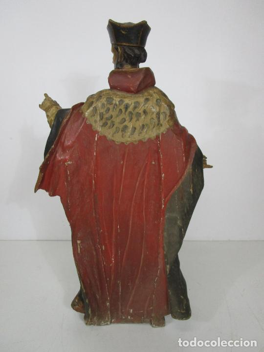 Arte: San Juan Nepomucero - Talla de Madera Policromada - Altura 126 cm - S. XVII-XVIII - Foto 36 - 225003015