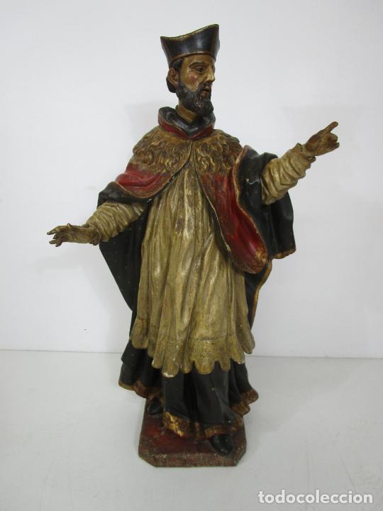 SAN JUAN NEPOMUCERO - TALLA DE MADERA POLICROMADA - ALTURA 126 CM - S. XVII-XVIII (Arte - Arte Religioso - Escultura)