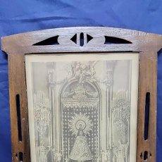 Arte: ANTIGUO CUADRO RELIGIOSO, LITOGRAFIA VIRGEN DEL PILAR 40X33 APROX. Lote 225028603