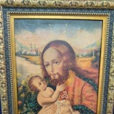 Arte: OLEO SOBRE LIENZO CUZQUEÑO/ CUSQUEÑO SAN JOSÉ CON EL NIÑO JESÚS.. Lote 225041715