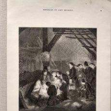 Arte: ADORACION DE LOS PASTORES DE REMBRANDT, GRABADO MERVEILLEUX DE L´ART RELIGIEUX 1873, NAVIDAD. Lote 225088857