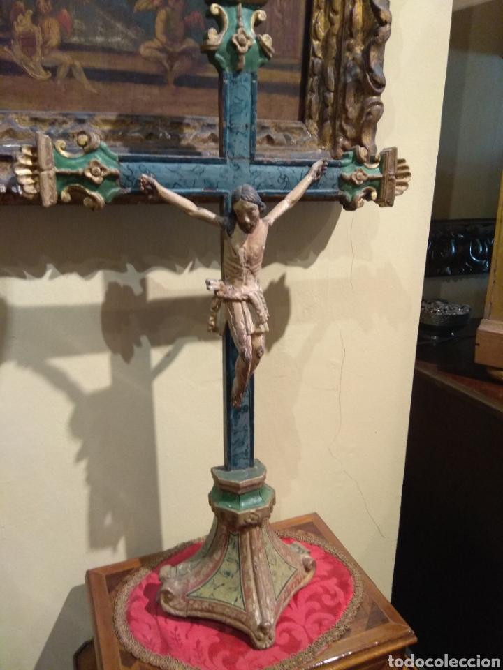 Arte: Escultura de Cristo en la Cruz Madera Policromada XVIII - Foto 12 - 50235814