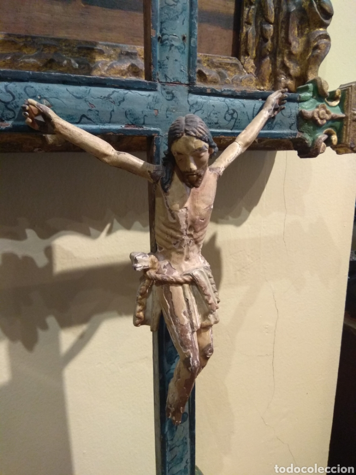 Arte: Escultura de Cristo en la Cruz Madera Policromada XVIII - Foto 14 - 50235814