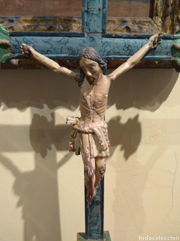 Arte: Escultura de Cristo en la Cruz Madera Policromada XVIII - Foto 15 - 50235814