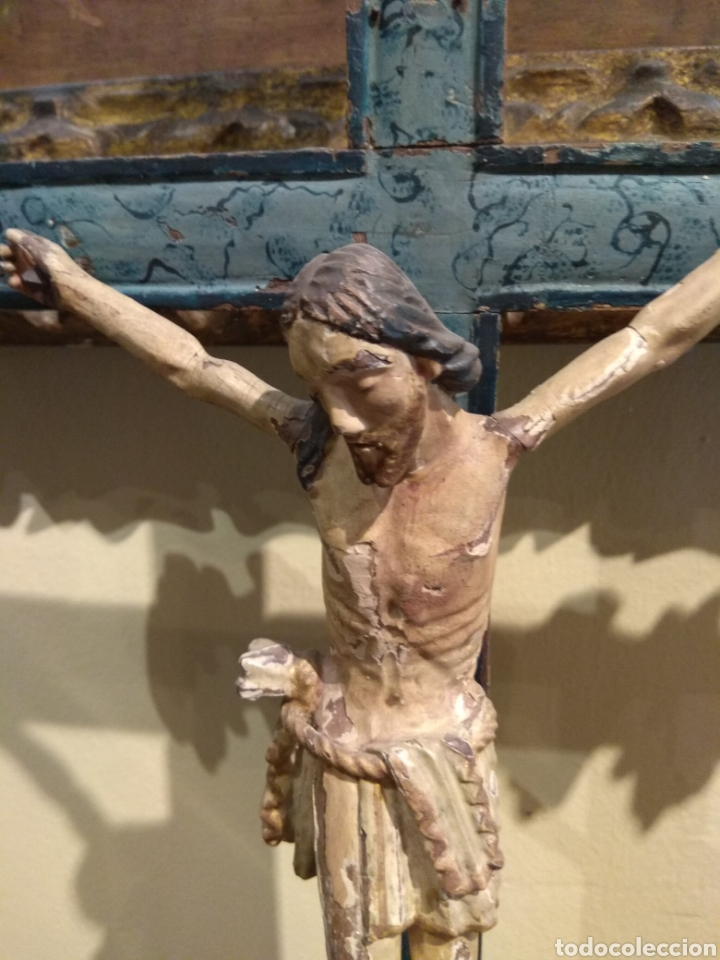 Arte: Escultura de Cristo en la Cruz Madera Policromada XVIII - Foto 20 - 50235814