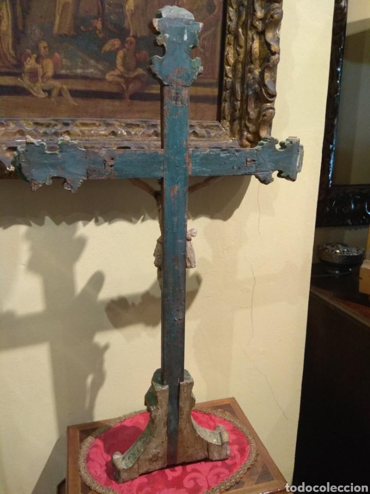 Arte: Escultura de Cristo en la Cruz Madera Policromada XVIII - Foto 31 - 50235814