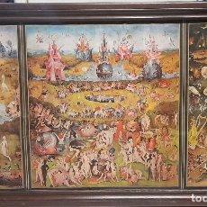 Arte: EL BOSCO - EL JARDIN DE LAS DELICIAS . LAMINA SOBRE LIENZO Y MADERA 100 X 57 CM. Lote 225465155