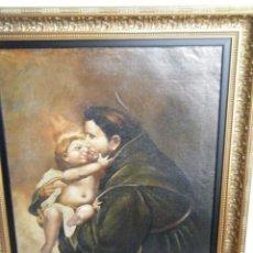 Arte: ÓLEO CON LA IMAGEN DE SAN ANTONIO CON EL NIÑO JESÚS (FINALES SIGLO XVIII). Lote 225559280