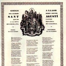 Arte: GOIGS A SANT AGUSTÍ - ESCOLA PIA DE SABADELL (1982). Lote 225582190