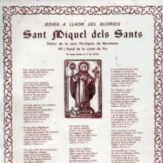 Arte: GOIGS A SANT MIQUEL DELS SANTS (IMP. GILABERT, S.F.). Lote 225582920