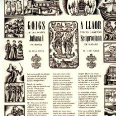 Arte: GOIGS A LES SANTES JULIANA I SEMPRONIANA DE MATARÓ (IMP. CASTELLÀ, 1982). Lote 225584637