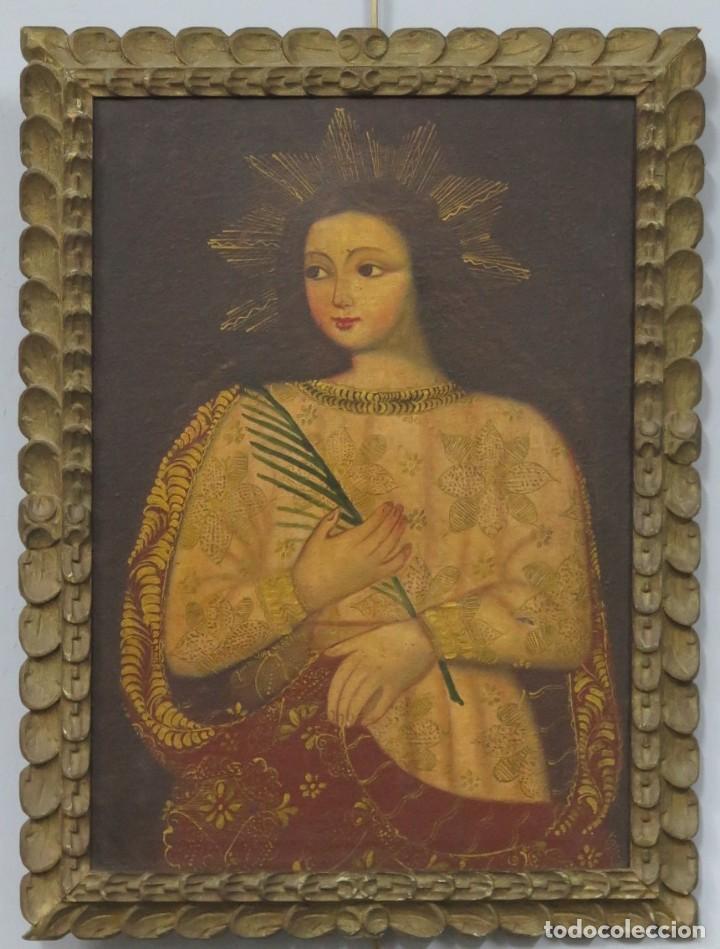 SANTA MARTIR. OLEO S/ LIENZO. ESCUELA CUZQUEÑA (Arte - Arte Religioso - Pintura Religiosa - Oleo)