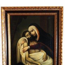 Arte: SOBERBIO OLEO SOBRE LIENZO. LA PIEDAD. FIRMADO. SIGLO XVII-XVIII. BELLO MARCO.. Lote 225630796