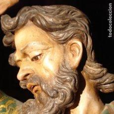 Arte: TALLA DE MADERA SANTIAGO EVANGELISTA DORADO AL ORO FINO. Lote 225707105