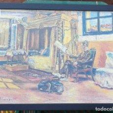 Arte: JOSEP SERRA SANTA (SERRANTA), 1916-1998. LÁMINA REPRODUCCION IMPRESA DE ÓLEO INÉDITO. ENMARCADA. Lote 225711285
