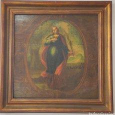 Arte: IMPRESIONANTE PINTURA SOBRE TABLA SIGLO XVIII XIX. SANTA BARBARA. 67 X 67. Lote 225777210