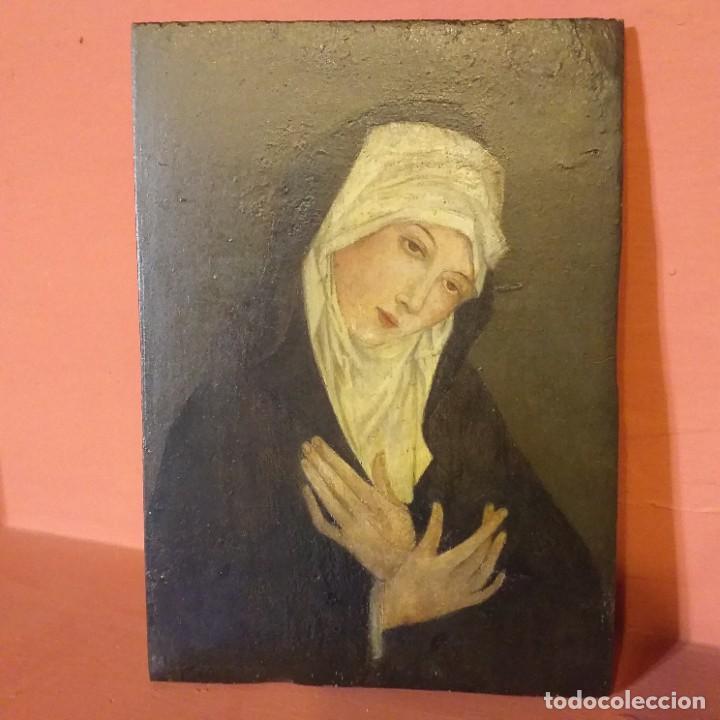 VIRGEN DOLOROSA . TABLA GÓTICA . (Arte - Arte Religioso - Pintura Religiosa - Otros)