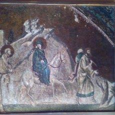 Arte: RETABLO RELIGIOSO MOSAICO VIRGEN MARIA Y JOSÉ VIAJE A BELÉN S.XIV. Lote 226056925