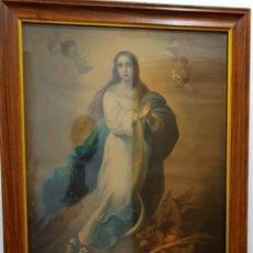 Arte: ANTIGUA LITOGRAFÍA 80CM VIRGEN INMACULADA DE LA CONCEPCIÓN MURILLO. Lote 226081342