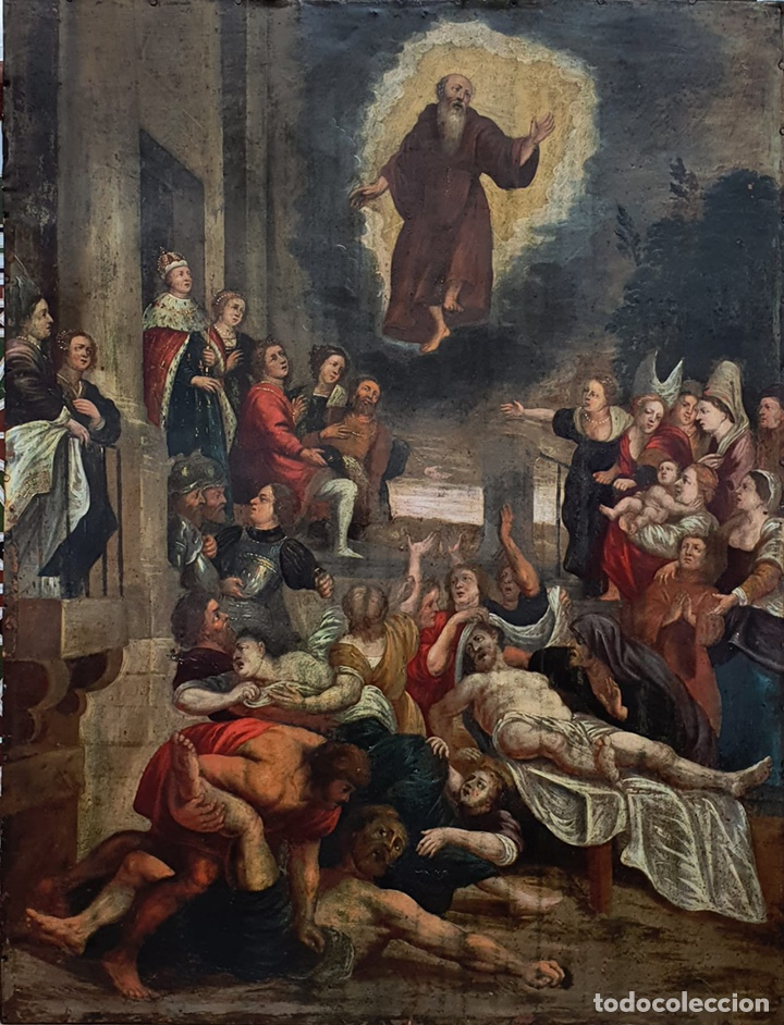 EL MILAGRO DE SAN FRANCISCO DE PAULA. OLEO SOBRE COBRE. 90X69CM. SIGLO XVII. (Arte - Arte Religioso - Pintura Religiosa - Oleo)