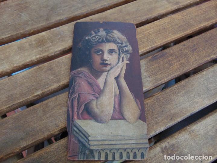 ANTIGUA Y PEQUEÑA, PINTURA OLEO SOBRE TABLE MADERA SAN JUANITO ?? FIRMADO CASTILLO (Arte - Arte Religioso - Pintura Religiosa - Oleo)