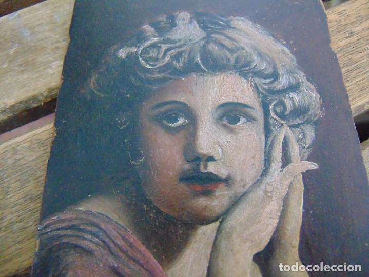Arte: ANTIGUA Y PEQUEÑA, PINTURA OLEO SOBRE TABLE MADERA SAN JUANITO ?? FIRMADO CASTILLO - Foto 3 - 226341270
