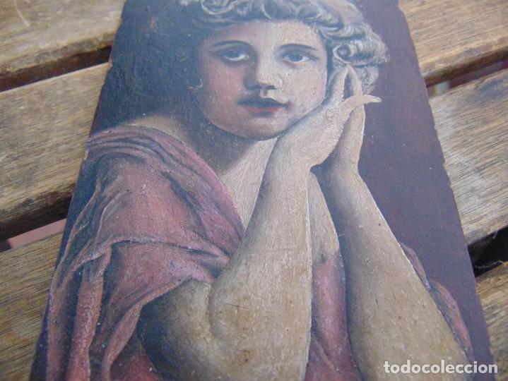 Arte: ANTIGUA Y PEQUEÑA, PINTURA OLEO SOBRE TABLE MADERA SAN JUANITO ?? FIRMADO CASTILLO - Foto 4 - 226341270