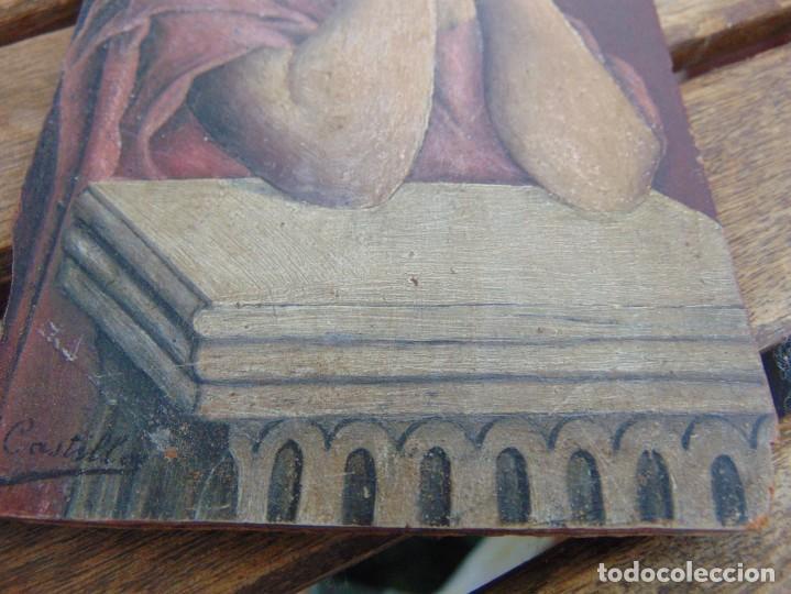 Arte: ANTIGUA Y PEQUEÑA, PINTURA OLEO SOBRE TABLE MADERA SAN JUANITO ?? FIRMADO CASTILLO - Foto 5 - 226341270