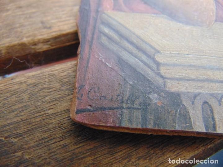 Arte: ANTIGUA Y PEQUEÑA, PINTURA OLEO SOBRE TABLE MADERA SAN JUANITO ?? FIRMADO CASTILLO - Foto 6 - 226341270