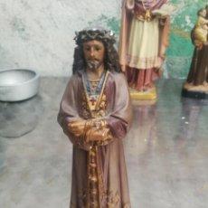 Arte: ANTIGUA FIGURA ESTUCO SAGRADO CORAZON DE JESÚS SELLO OLOT 23 CM... Lote 226396715