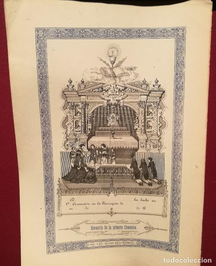 RECUERDO DE LA 1ª COMUNIÓN. S.XIX. (Arte - Arte Religioso - Grabados)