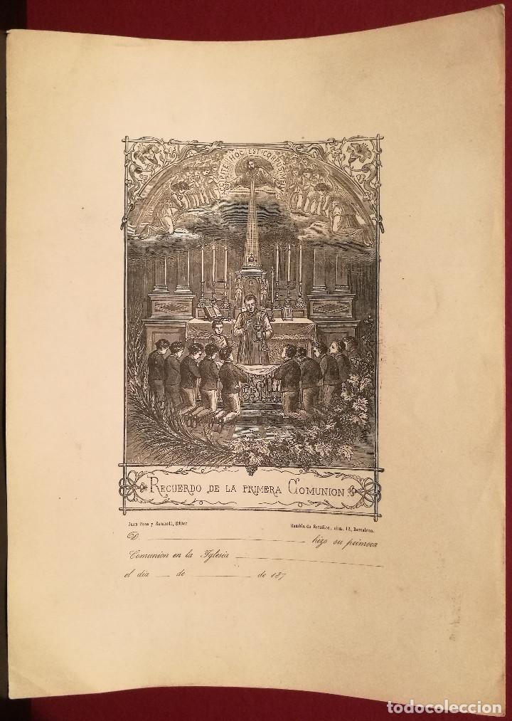 RECUERDO DE LA 1ª COMUNIÓN. CIRCA 1875. (Arte - Arte Religioso - Grabados)