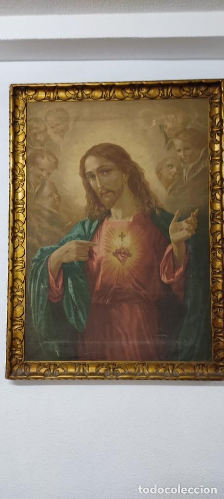 ANTIGUA ESTAMPACION SOBRE LIENZO SAGRADO CORAZON DE JESUS 110X80 (Arte - Arte Religioso - Pintura Religiosa - Otros)