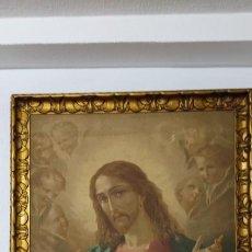 Arte: ANTIGUA ESTAMPACION SOBRE LIENZO SAGRADO CORAZON DE JESUS 110X80. Lote 224897652