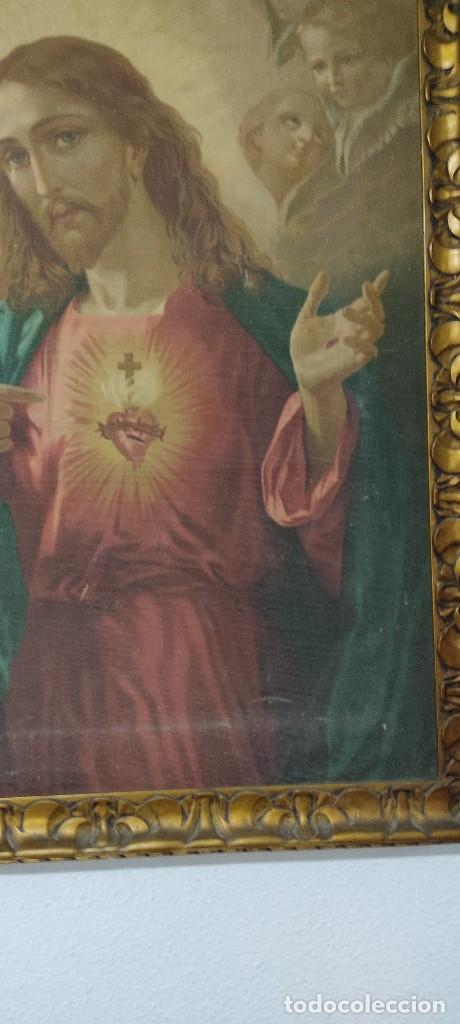Arte: antigua estampacion sobre lienzo sagrado corazon de jesus 110x80 - Foto 4 - 224897652