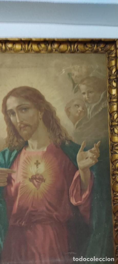 Arte: antigua estampacion sobre lienzo sagrado corazon de jesus 110x80 - Foto 7 - 224897652