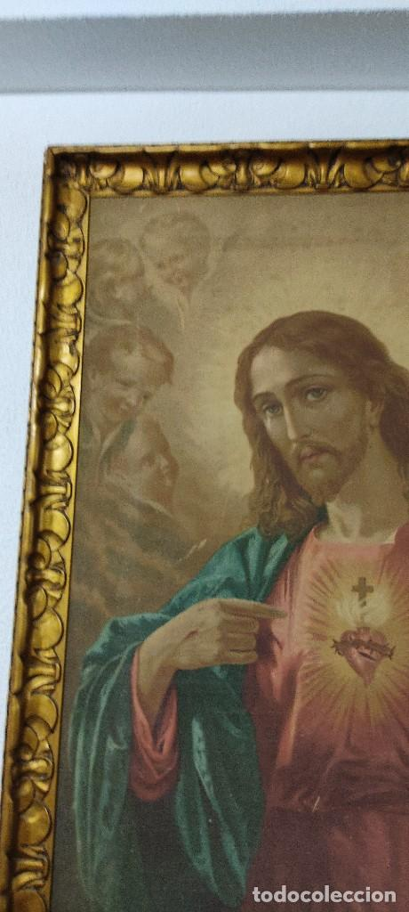 Arte: antigua estampacion sobre lienzo sagrado corazon de jesus 110x80 - Foto 13 - 224897652